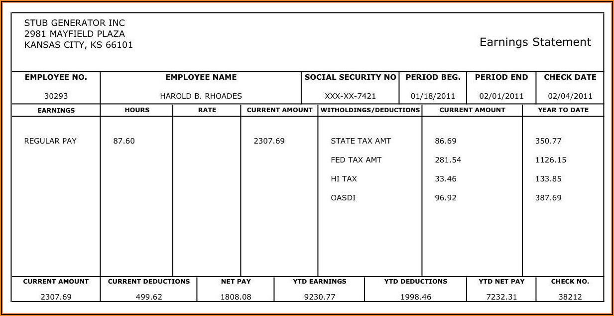 Free Printable Check Paycheck Stub Sample