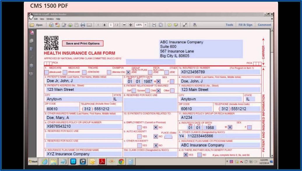 Free Printable Cms 1500 Claim Form
