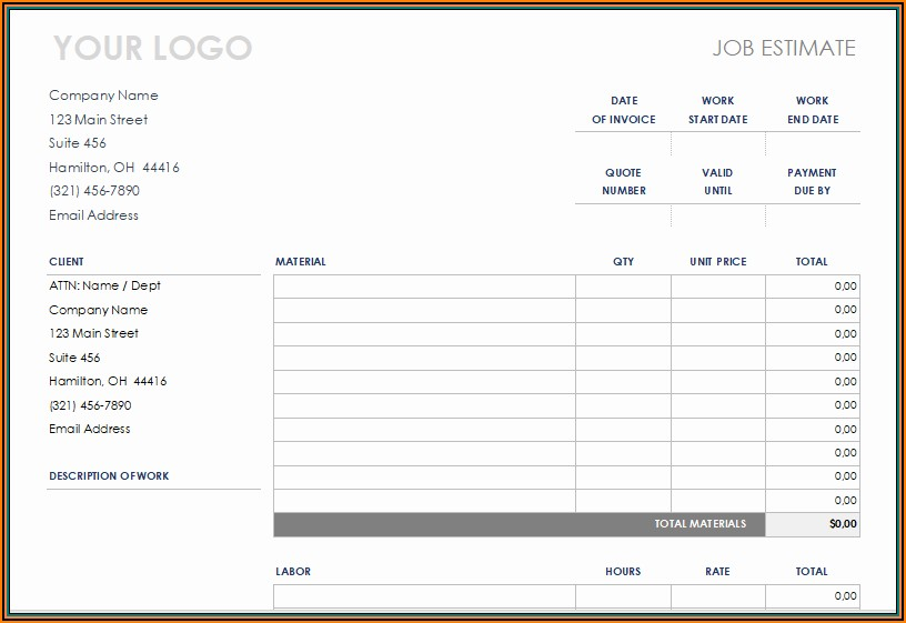 Free Printable Construction Estimate Template