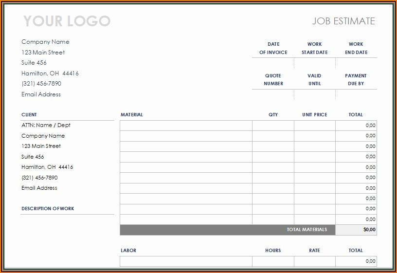 Free Printable Construction Estimate Template