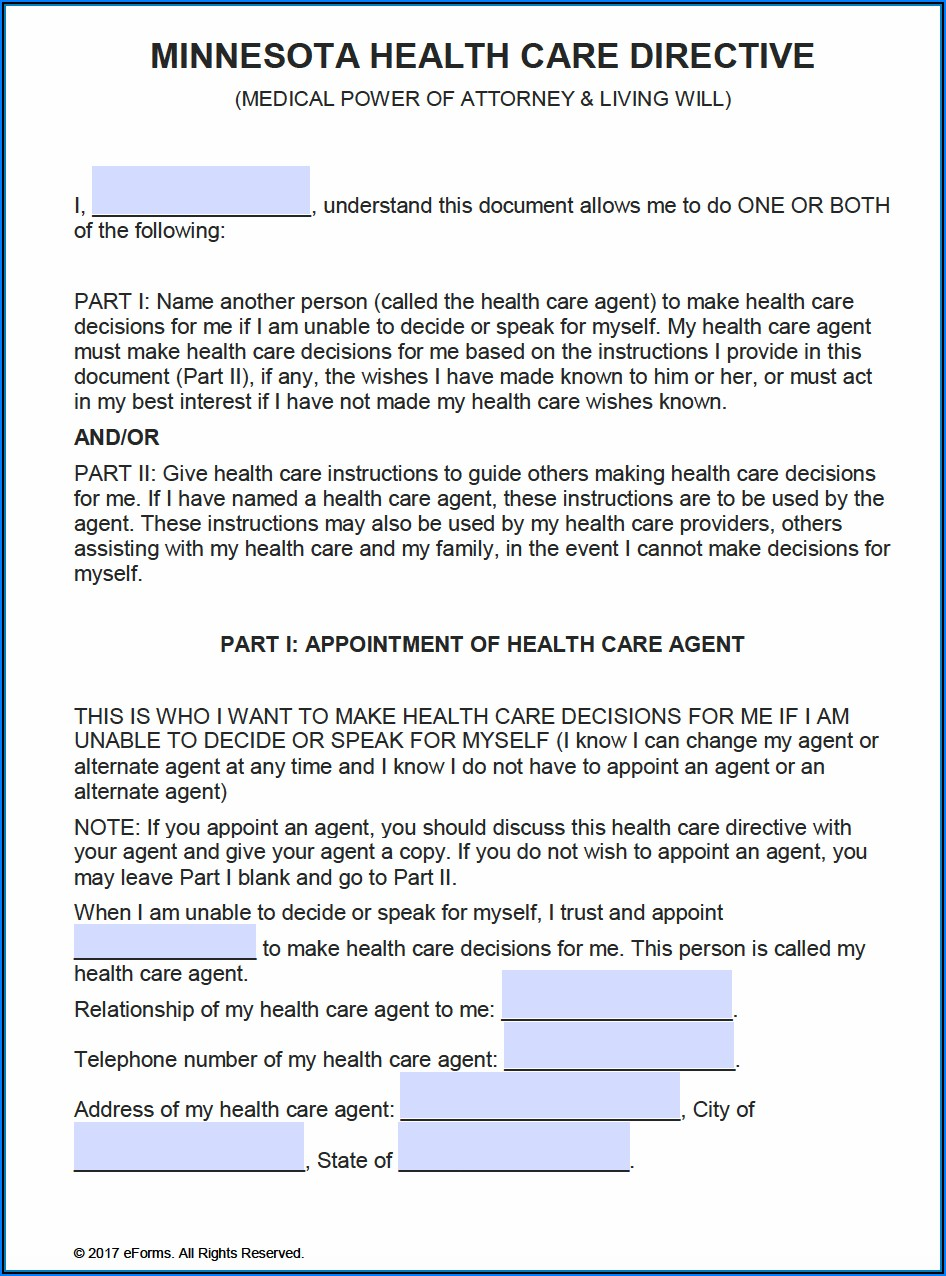 Free Printable Power Of Attorney Form Minnesota