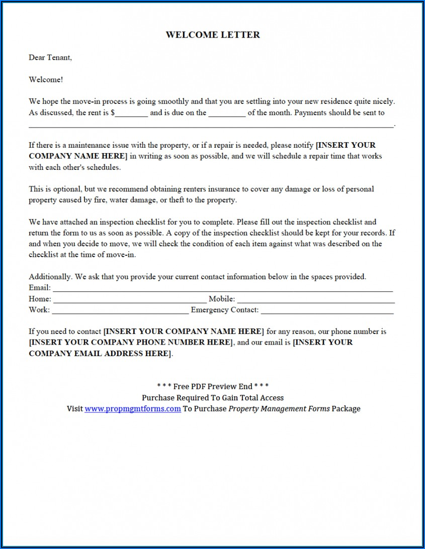 Free Property Management Forms Templates