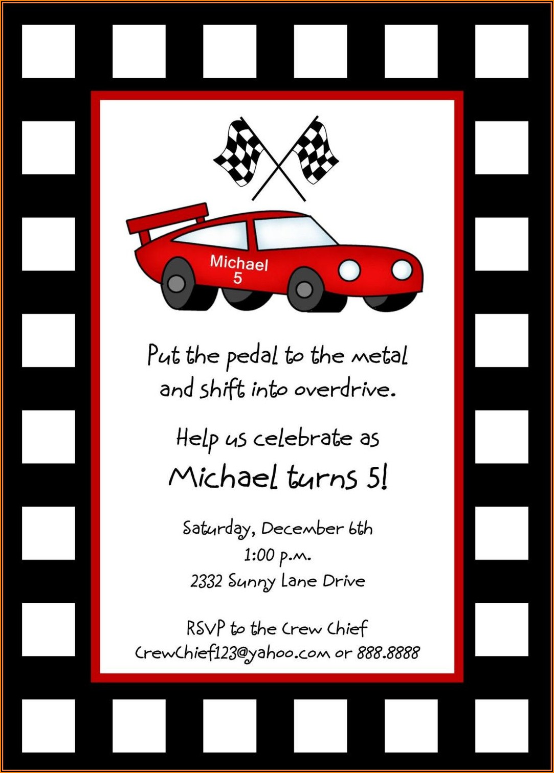 Free Race Car Party Invitation Templates