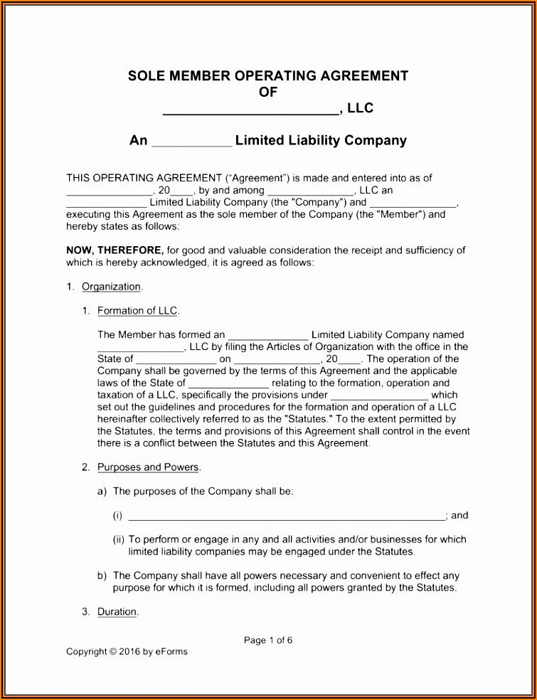 Free Single Member Llc Operating Agreement Template Pdf