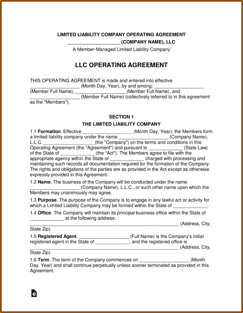 Free Single Member Llc Operating Agreement Template