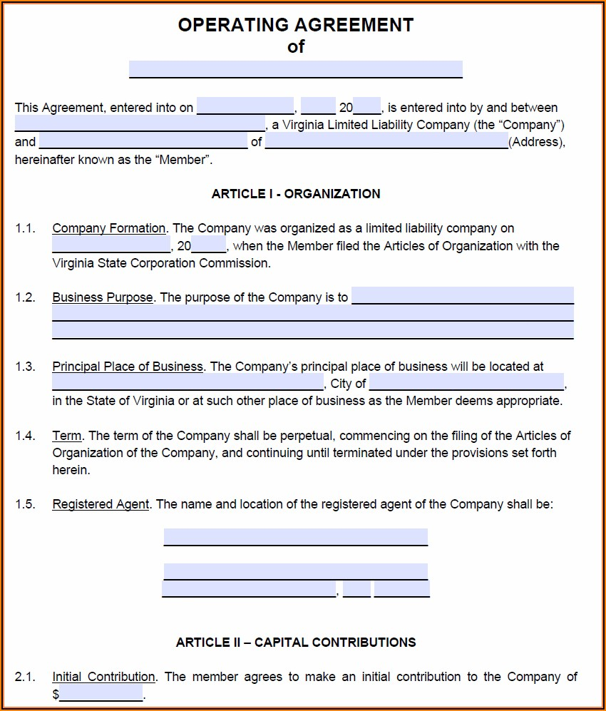 Free Virginia Llc Operating Agreement Template