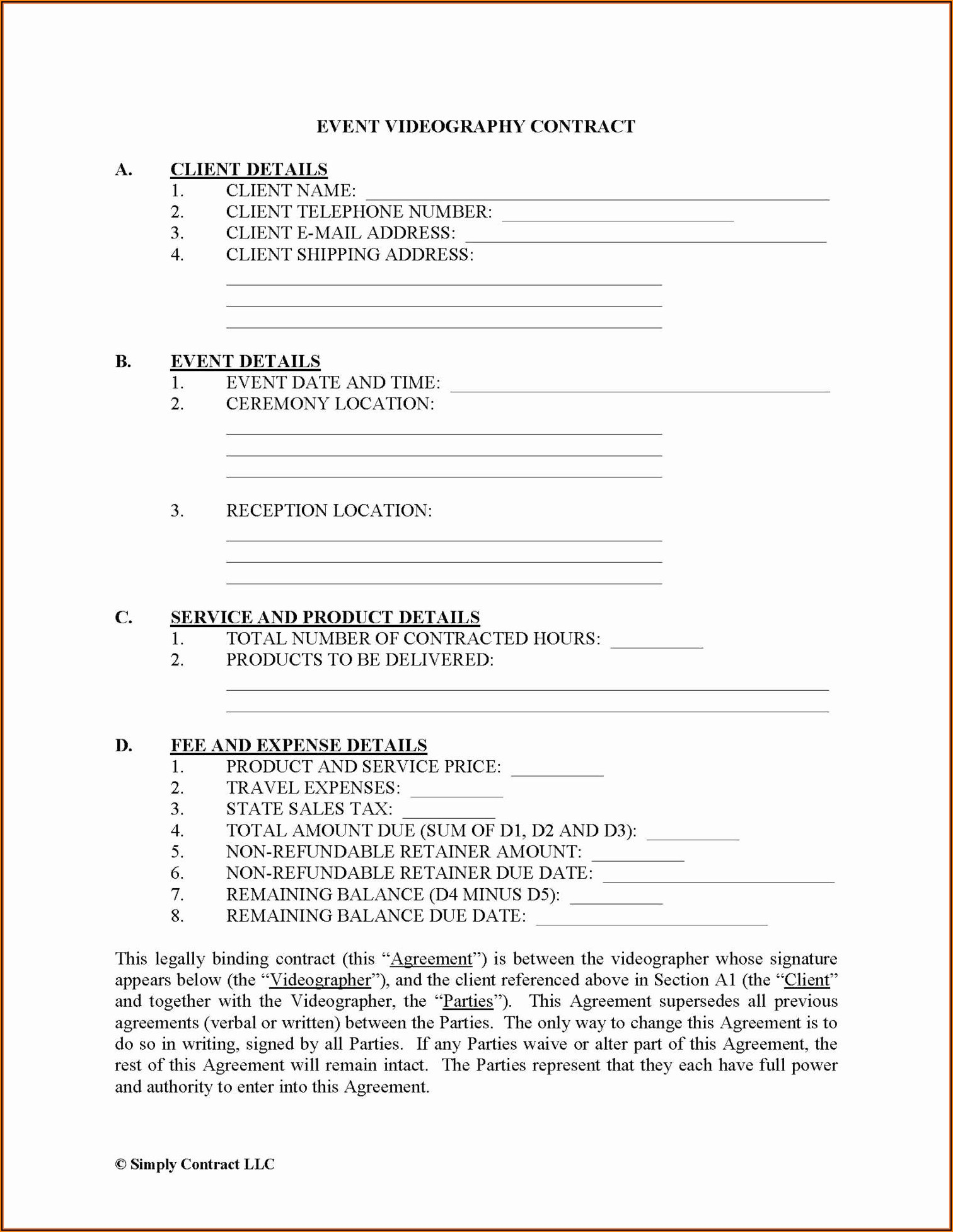 Freelance Videography Contract Template