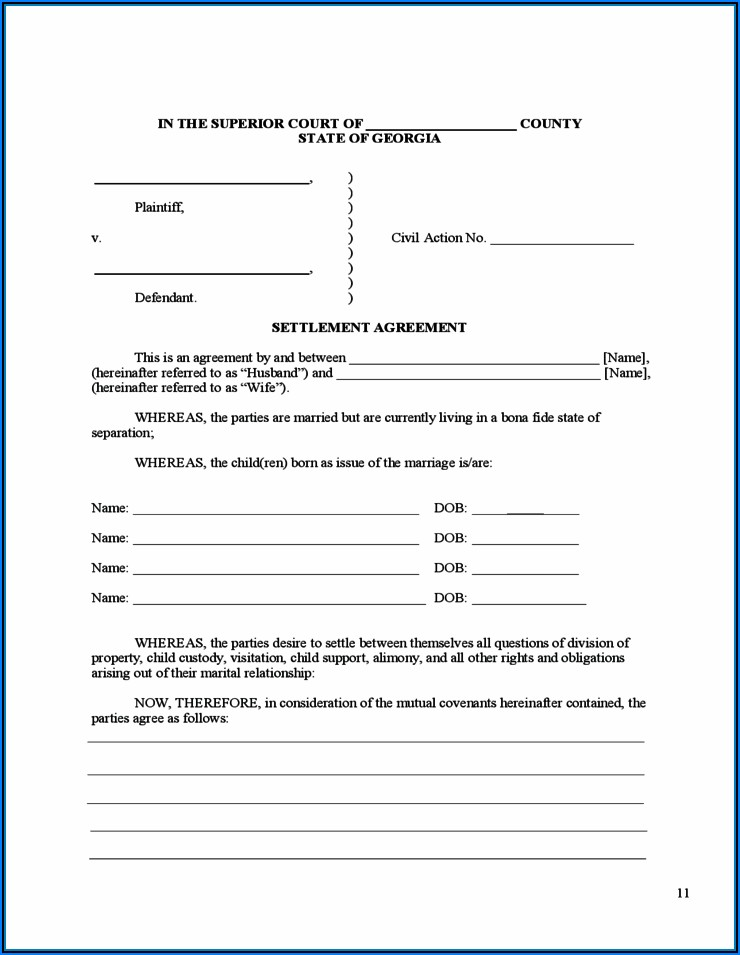 Ga Uncontested Divorce Forms