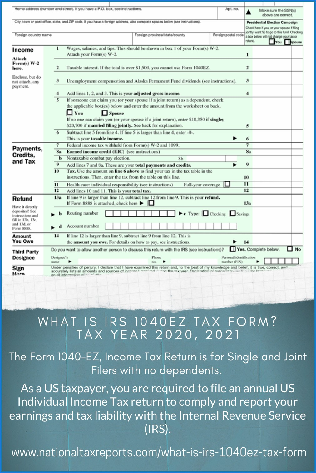 Irs 1040ez Tax Form