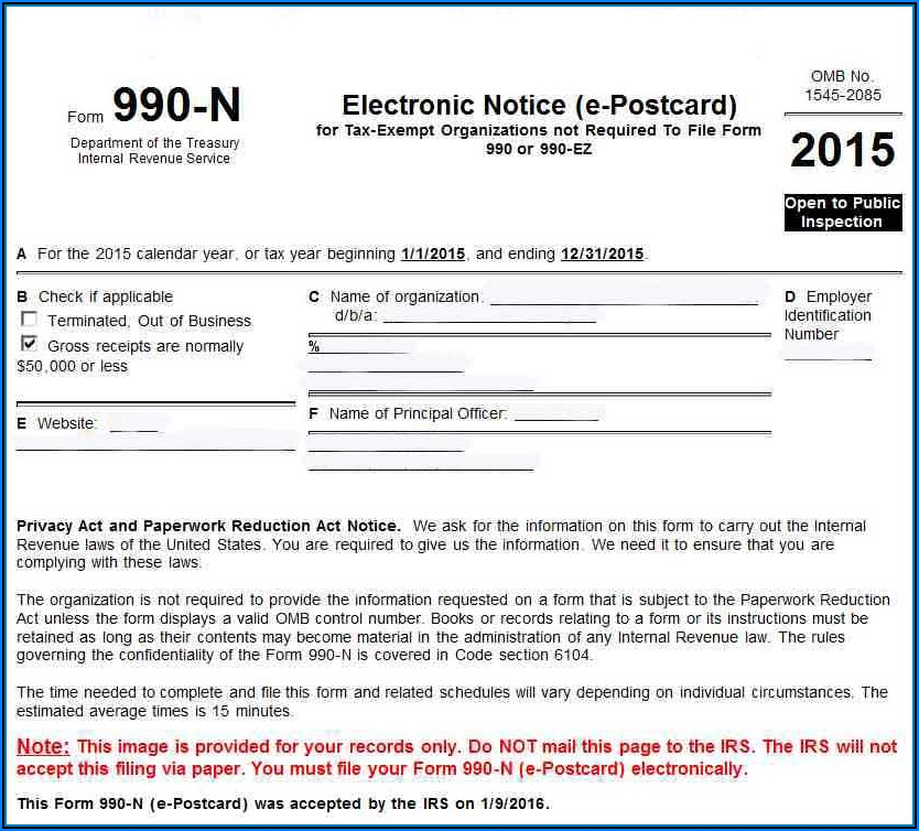 Irs Form 990 N Electronic Filing System
