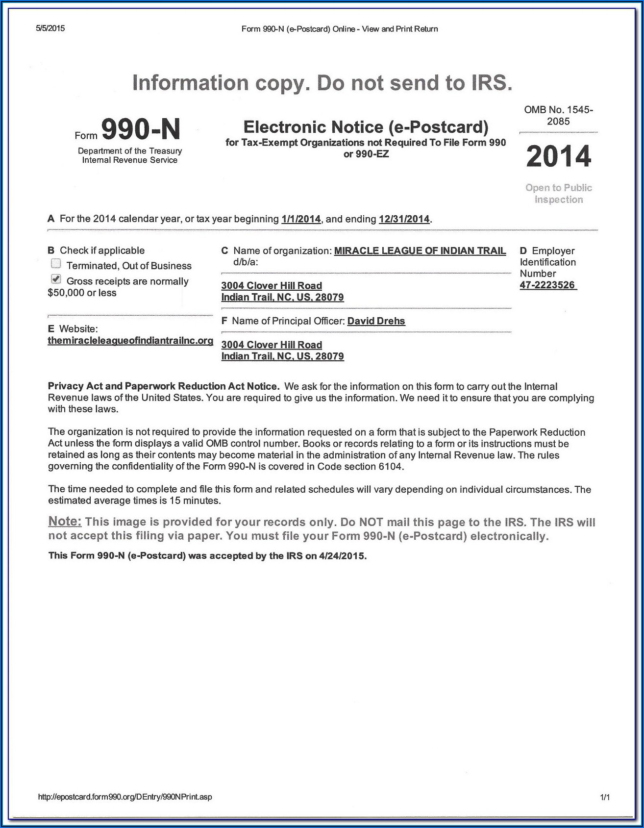 Irs Forms 990 N