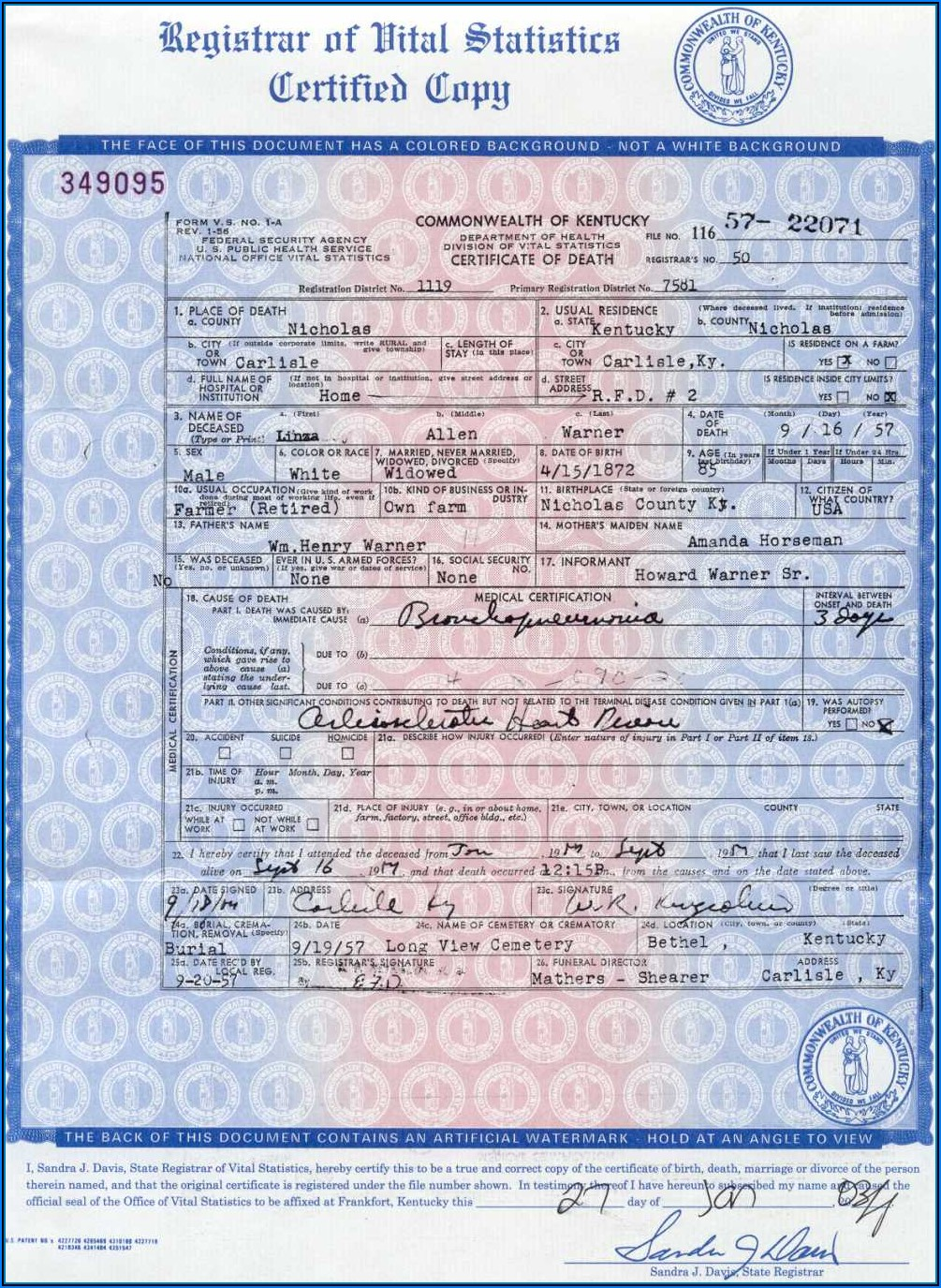 Kentucky Birth Certificate Application Form