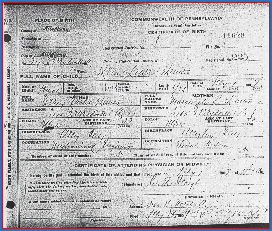 Kentucky Birth Certificate Form