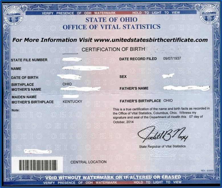 Kentucky Birth Certificate Format