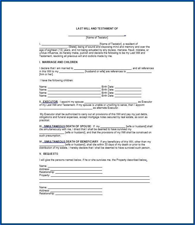 Last Will And Testament Forms Free