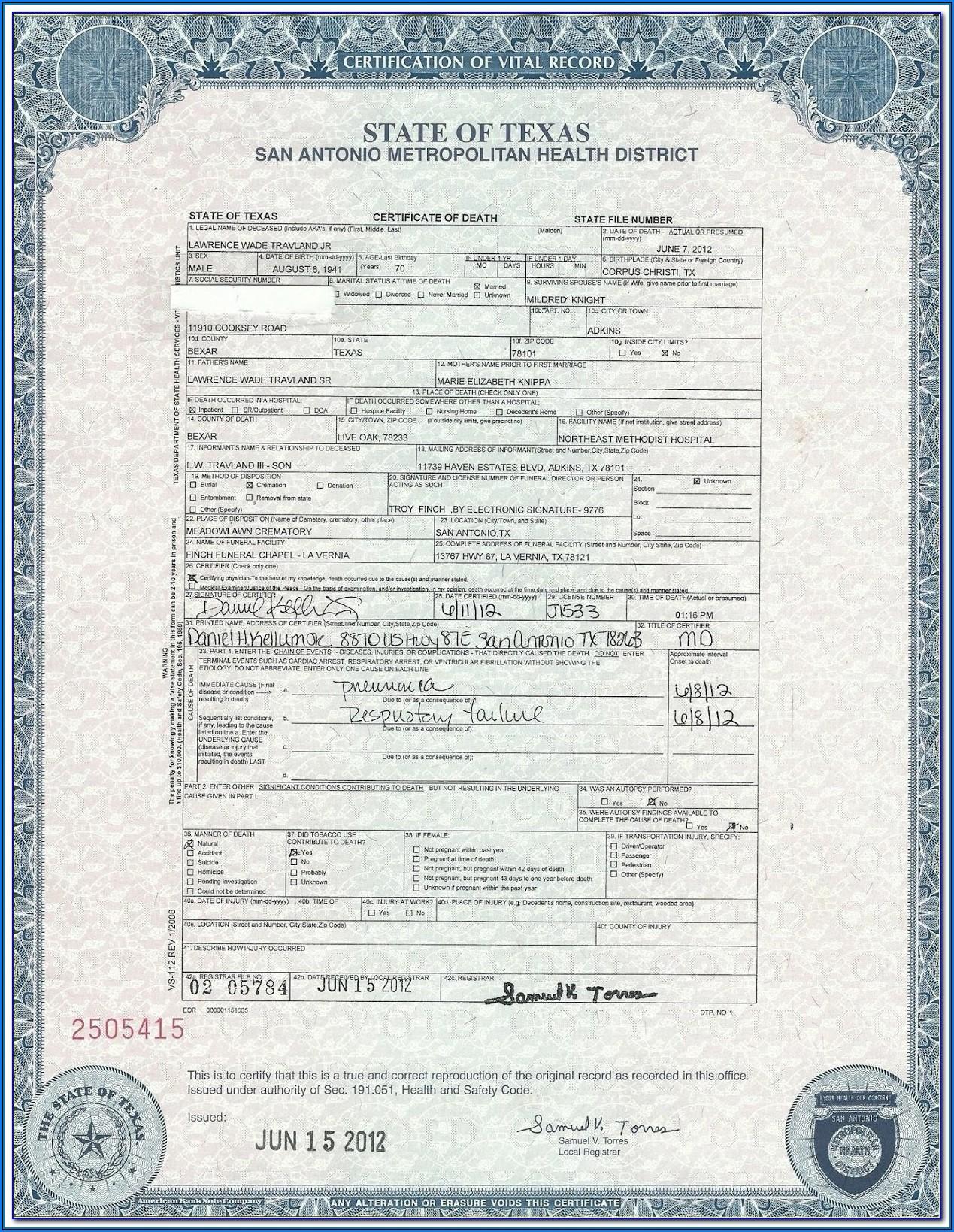 Liberia Birth Certificate Application Form Download