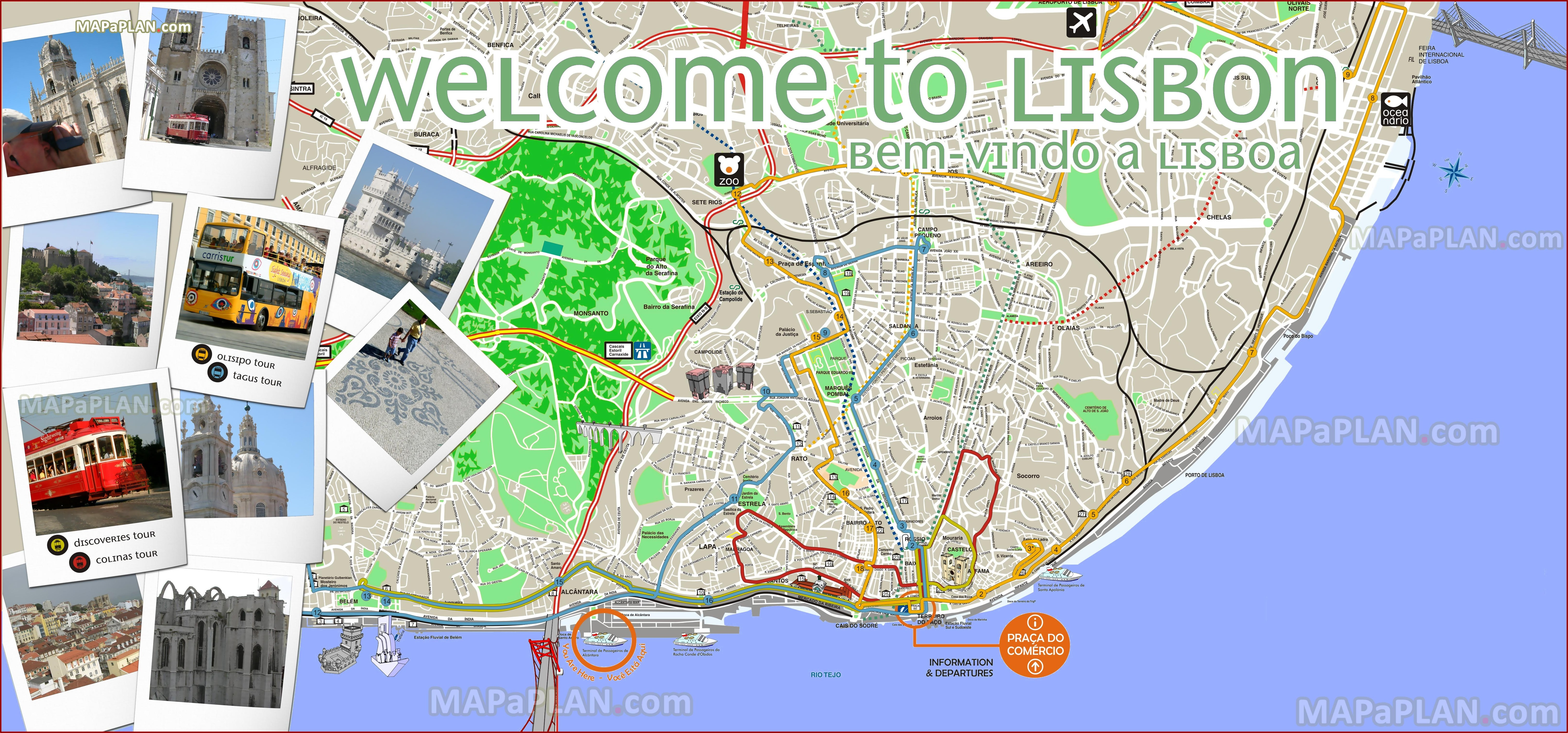 Lisbon Tourist Map Printable