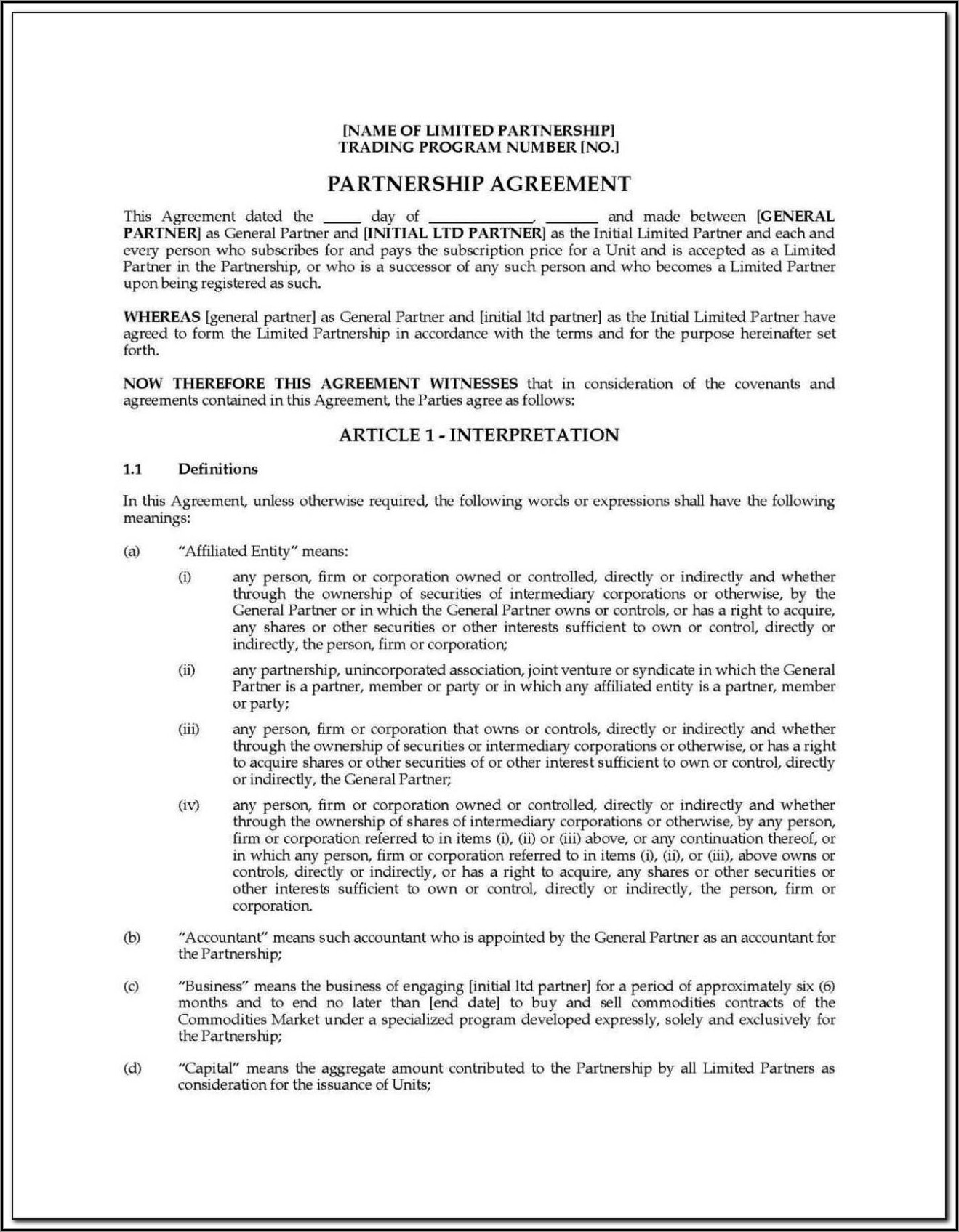 Llp Partnership Agreement Template Free Malaysia
