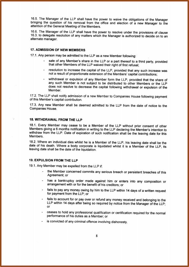 Llp Partnership Agreement Template Free Uk