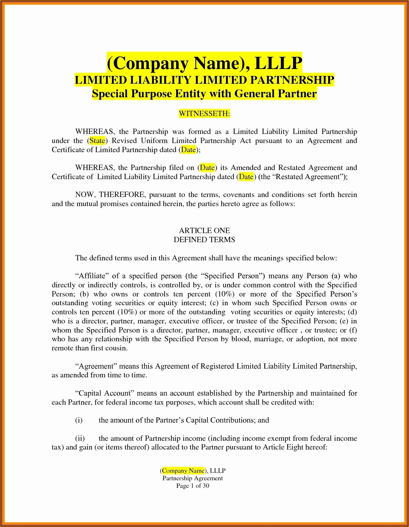 Llp Partnership Agreement Template