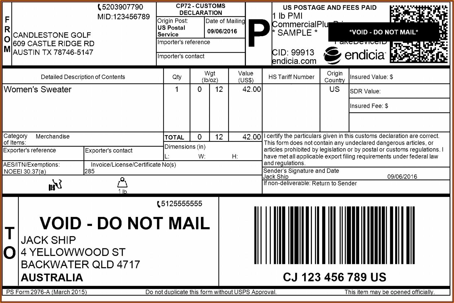 Mailing Label Format Usps