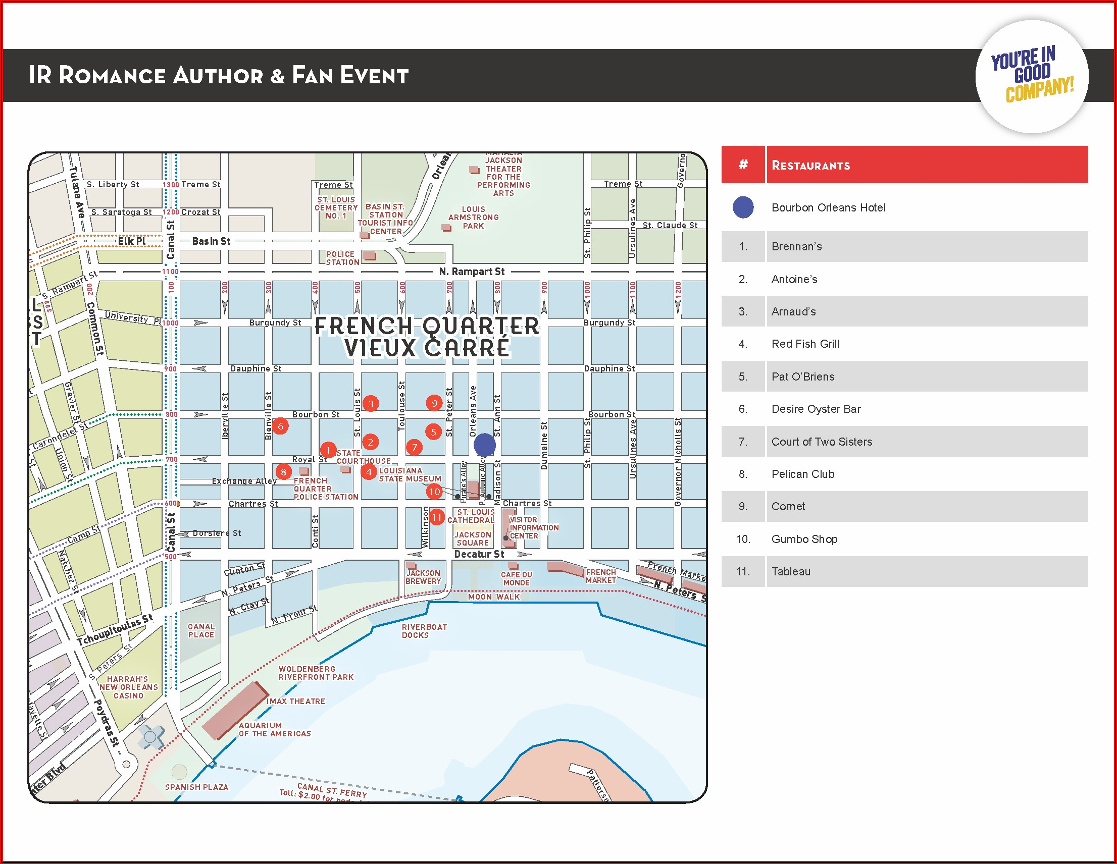 Map Of French Quarter Hotels And Restaurants