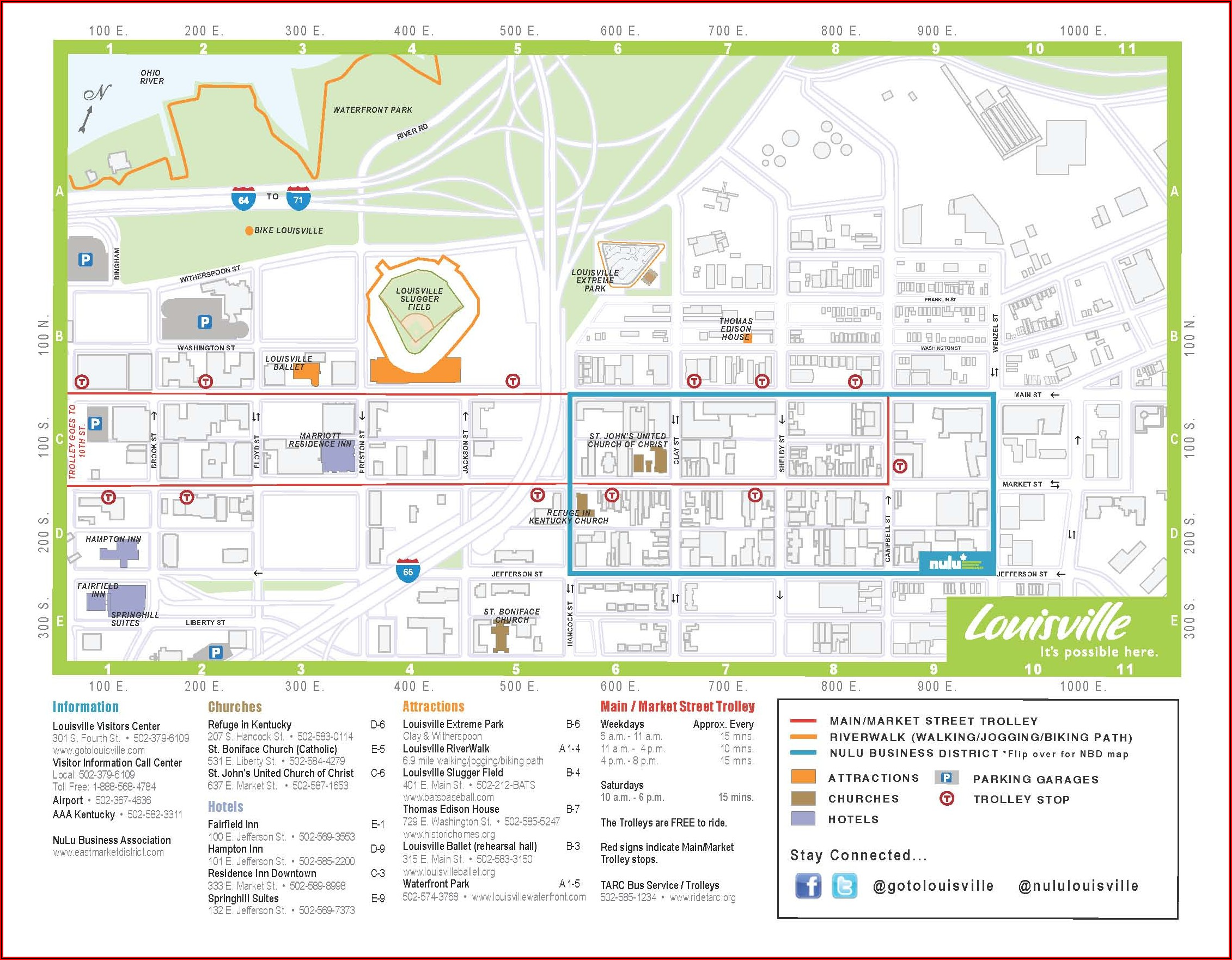 Map Of Hotels In Downtown Louisville Ky