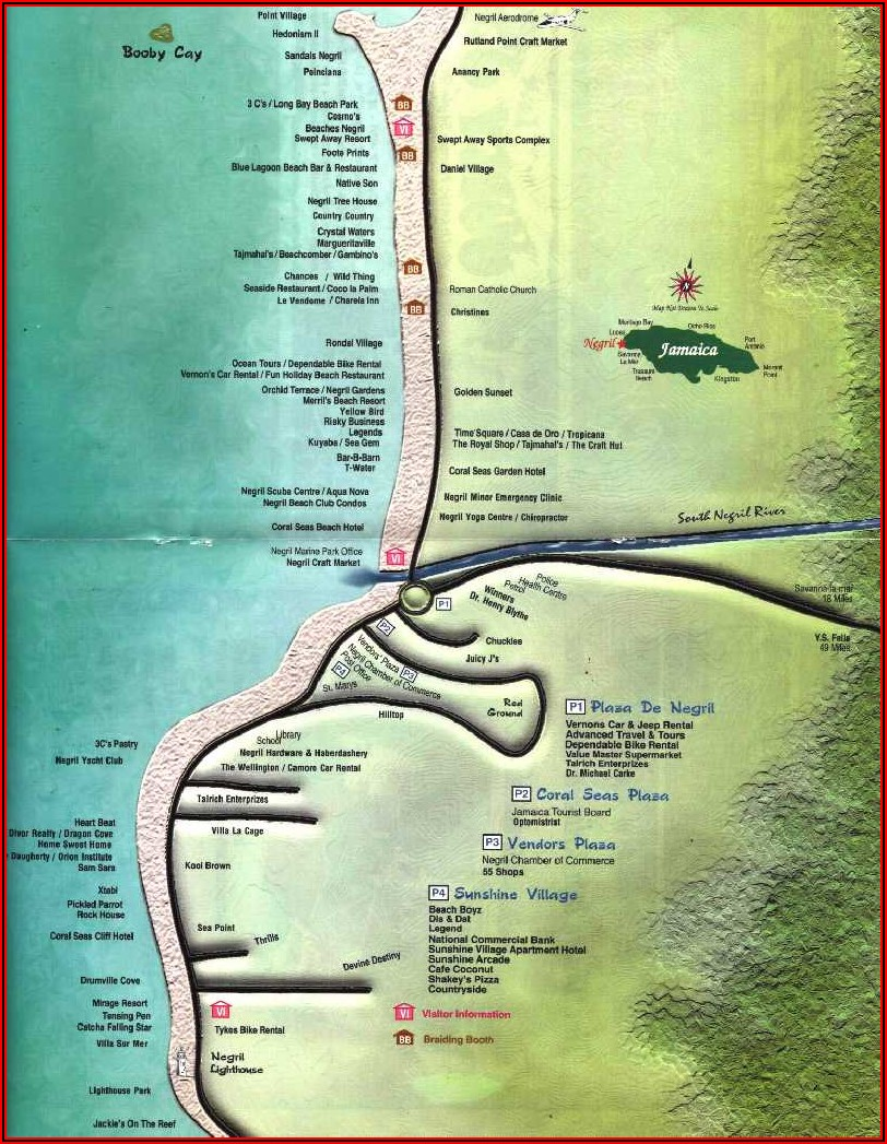Map Of Hotels On 7 Mile Beach Negril Jamaica