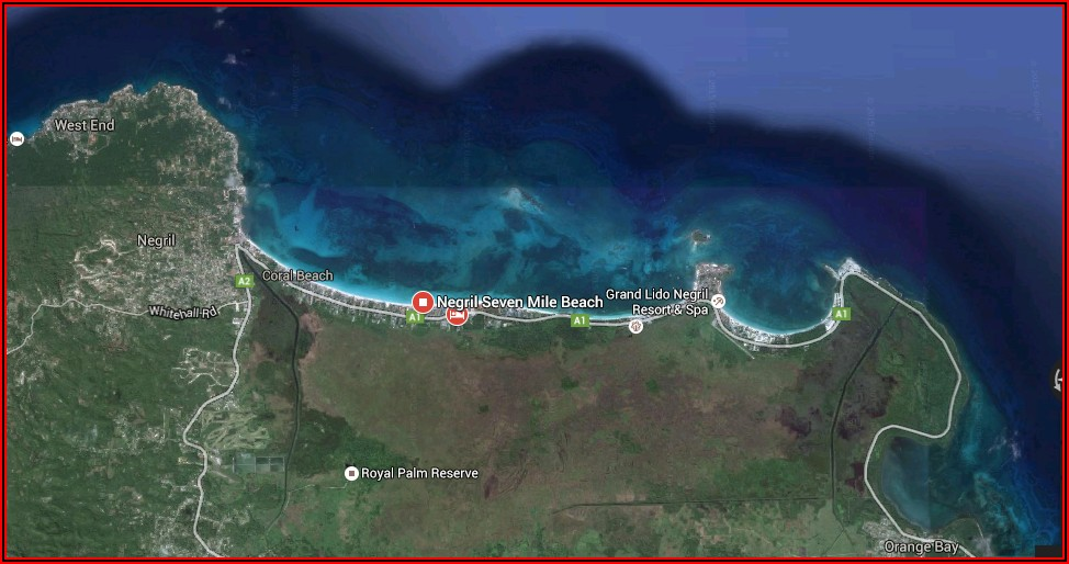 Map Of Hotels On Seven Mile Beach Negril Jamaica