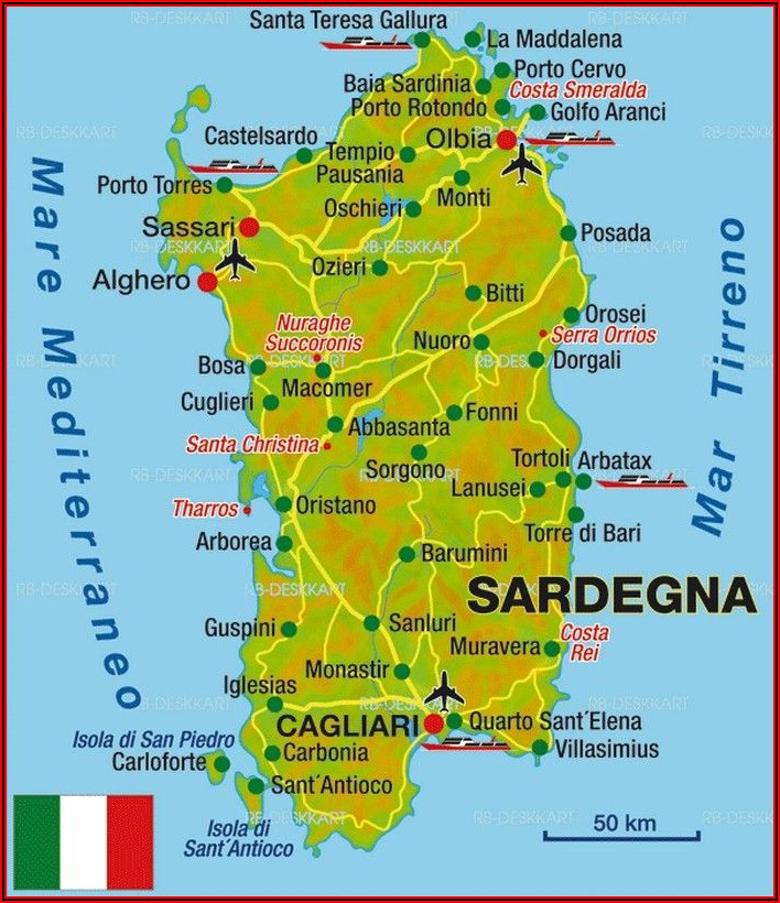 Map Of Italy With Corsica End Sardinia