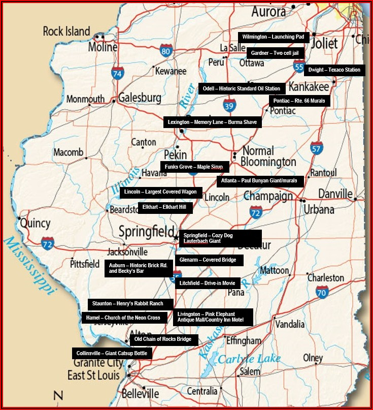 Map Of Rt 66 In Illinois