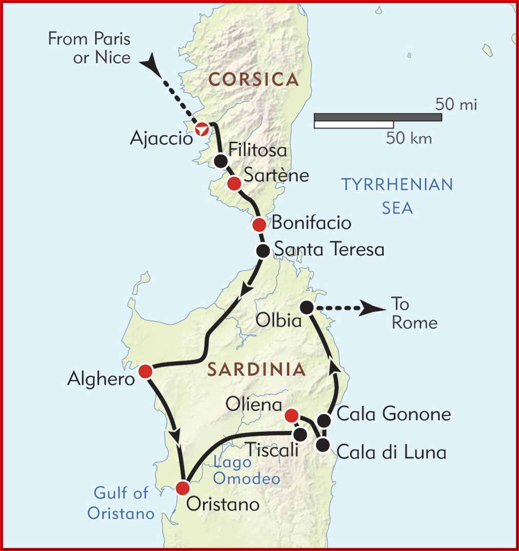 Map Showing Sardinia And Corsica