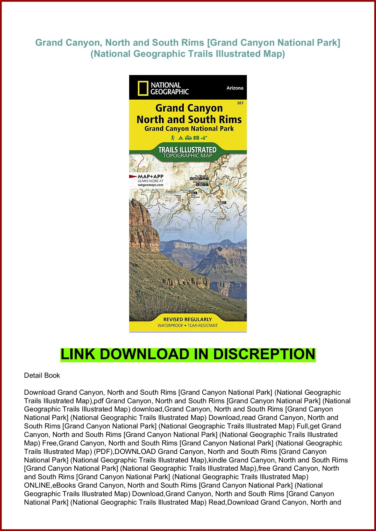 National Geographic Trails Illustrated Maps Arizona