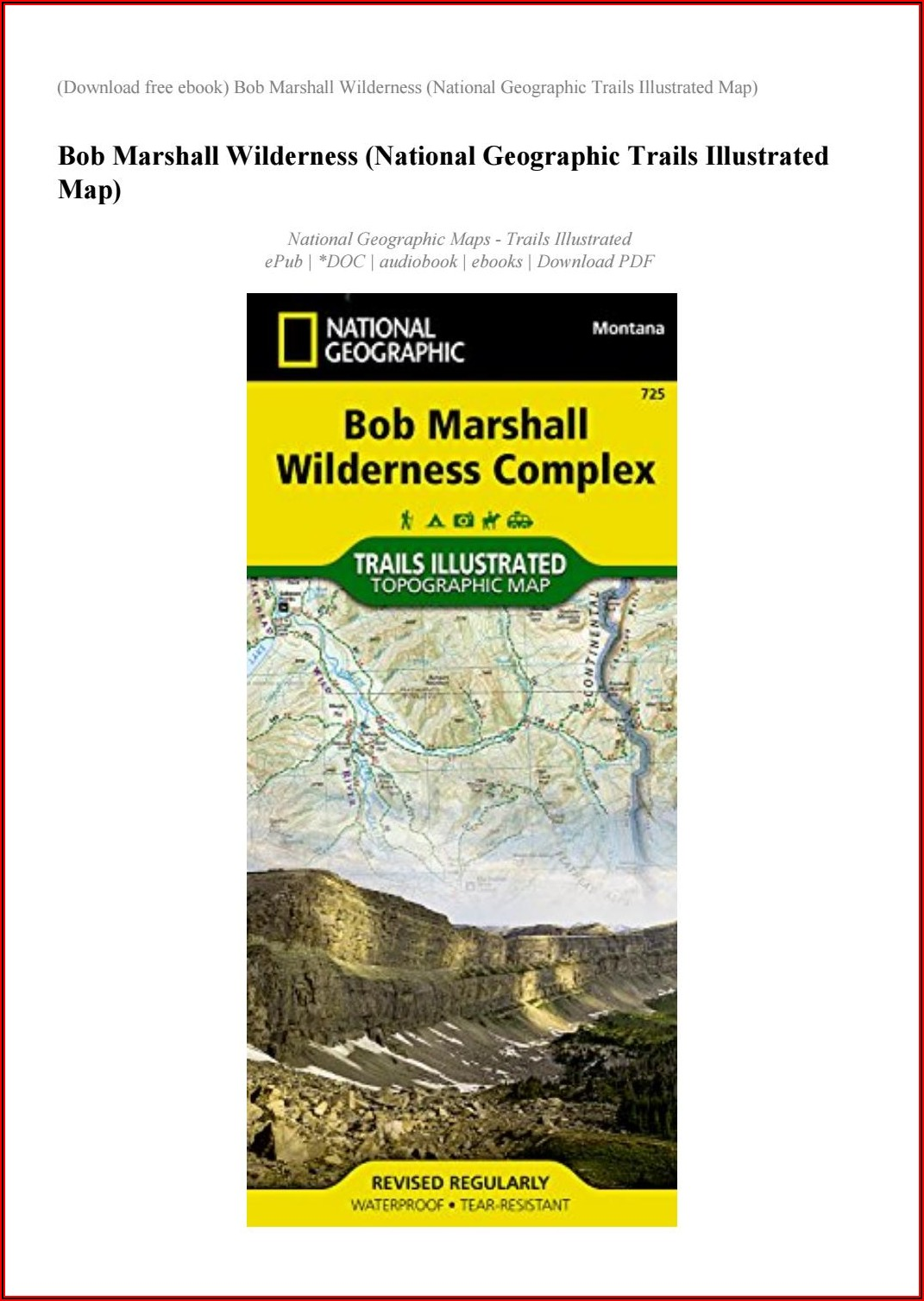 National Geographic Trails Illustrated Maps Montana