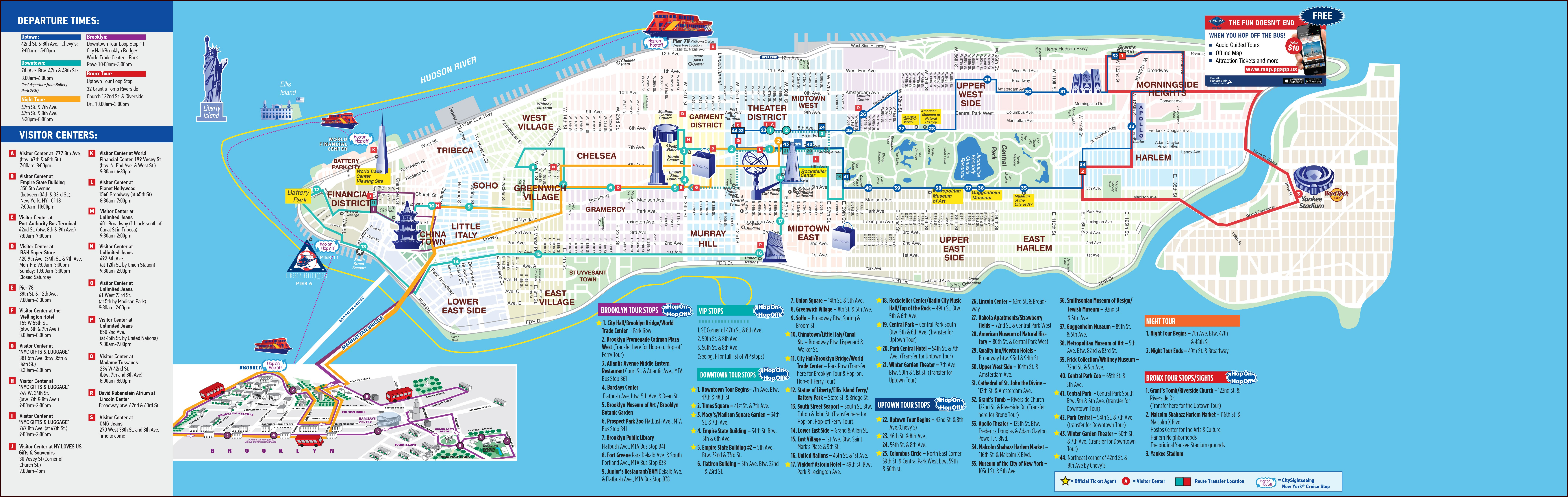 New York Pass Hop On Hop Off Bus Map