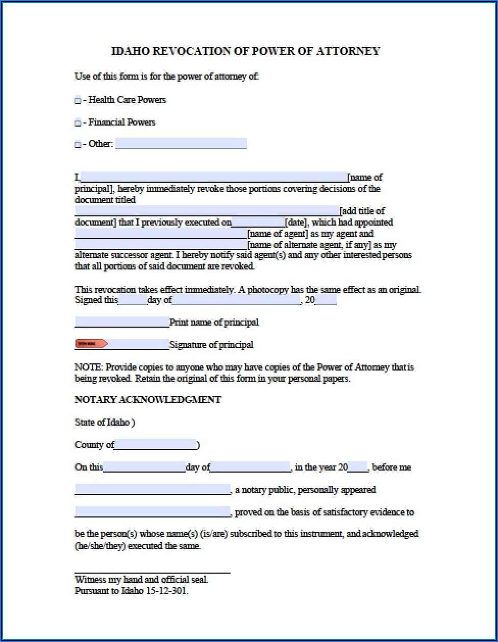 New York State Revocation Of Power Of Attorney Form