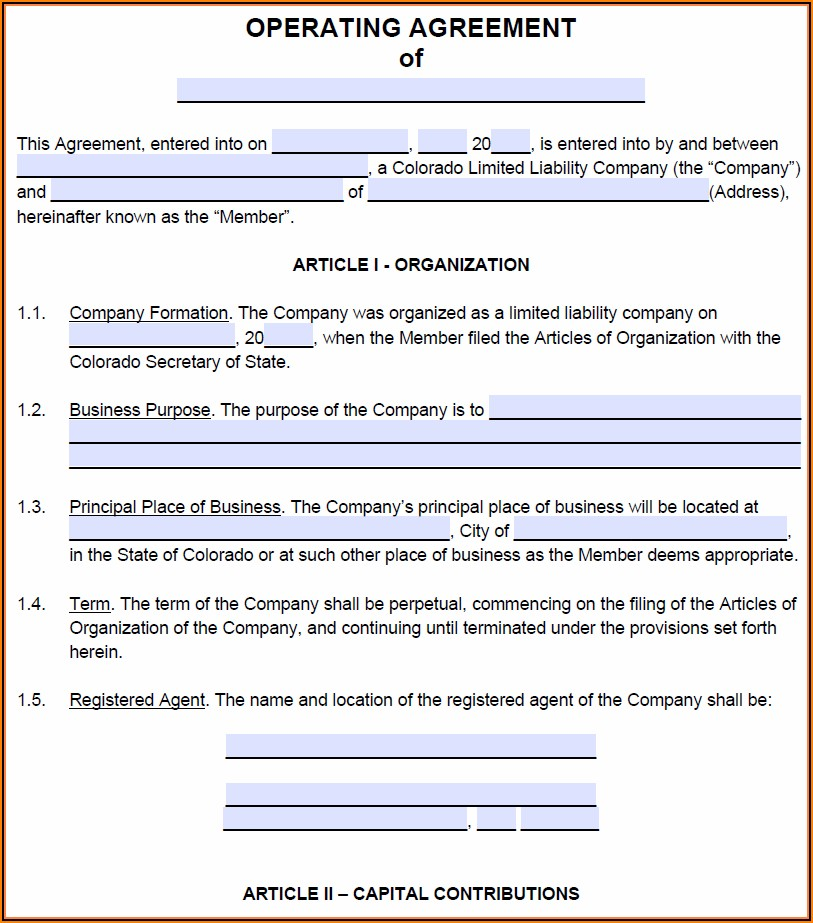 Operating Agreement For Llc Colorado Template