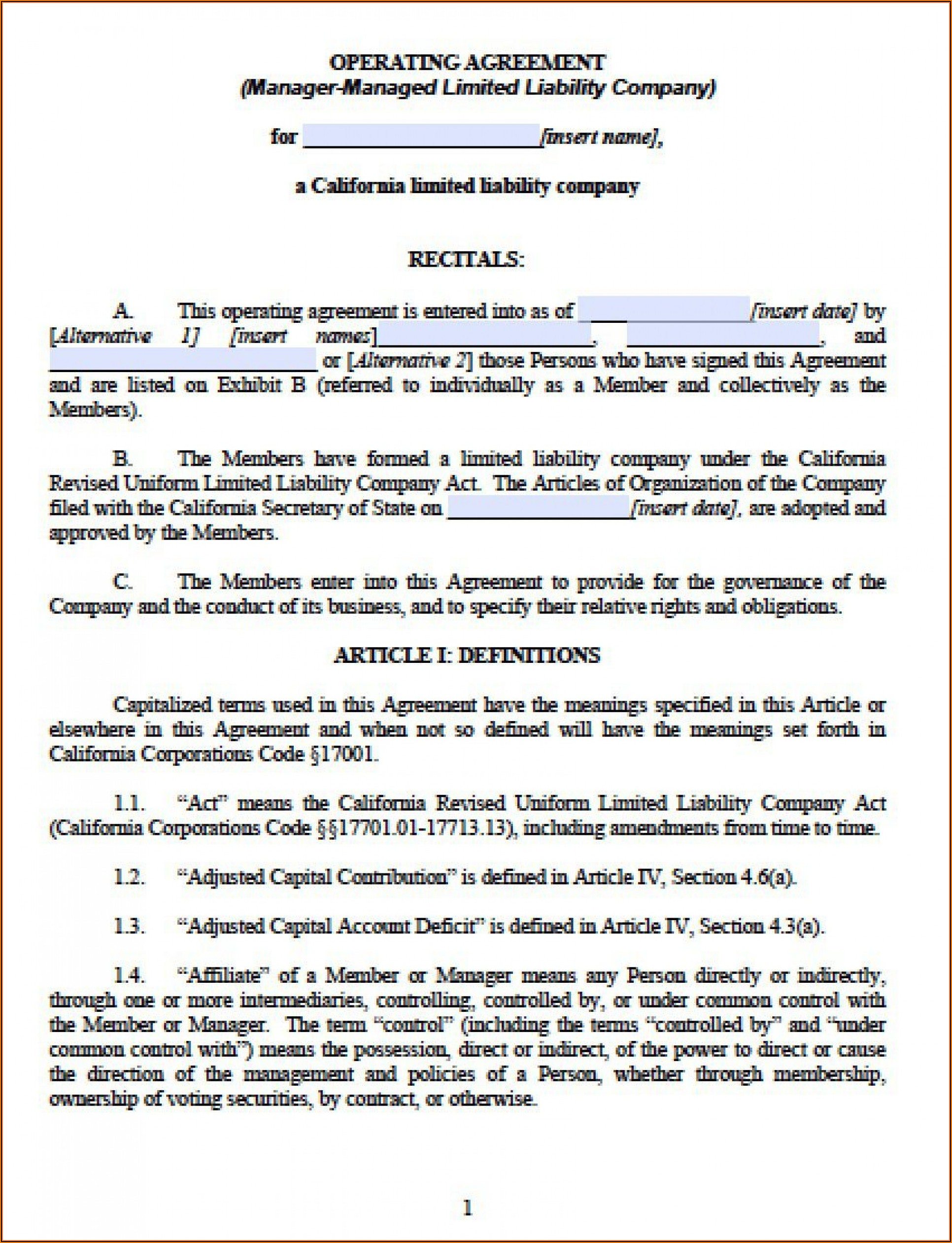 Operating Agreement Llc Template Florida