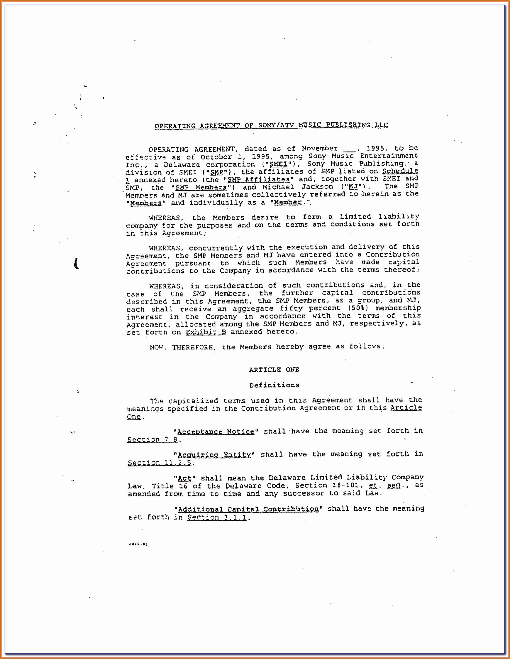 Operating Agreement Llc Template Puerto Rico