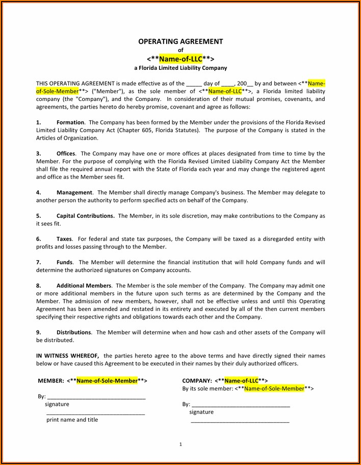 Operating Agreement Llc Template Word