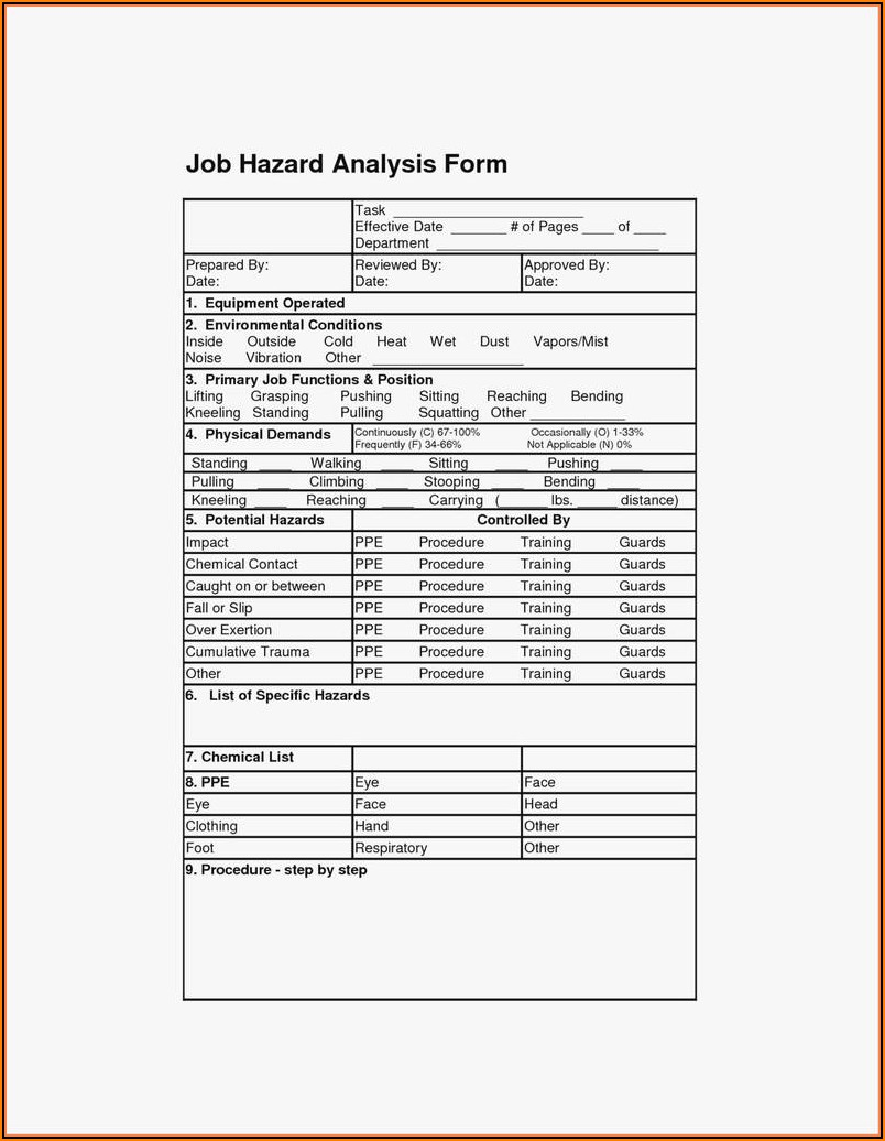 Osha Job Hazard Analysis Template