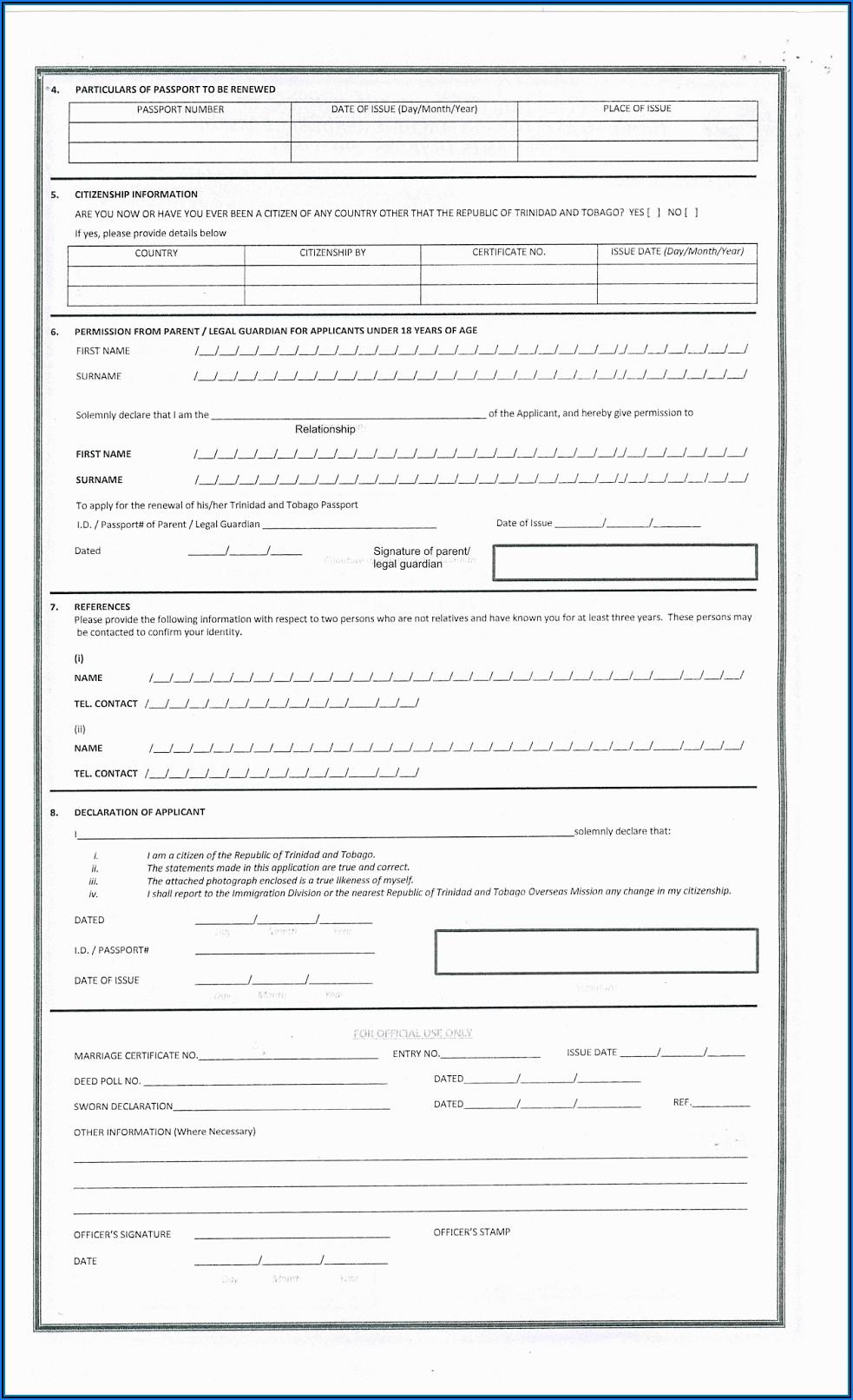 Passport Forms Renewal Trinidad And Tobago