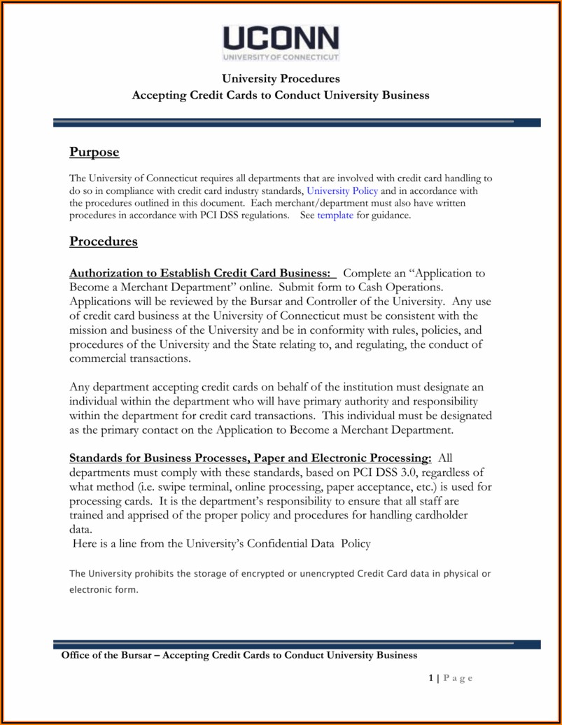 Pci Compliance Policy And Procedures Template