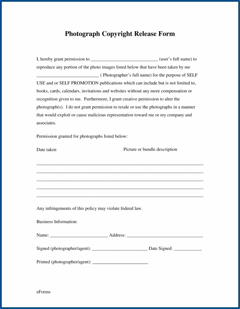 Photo Release Forms For Photographers