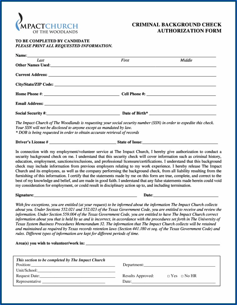 Pre Employment (criminal) Background Check Authorization Form