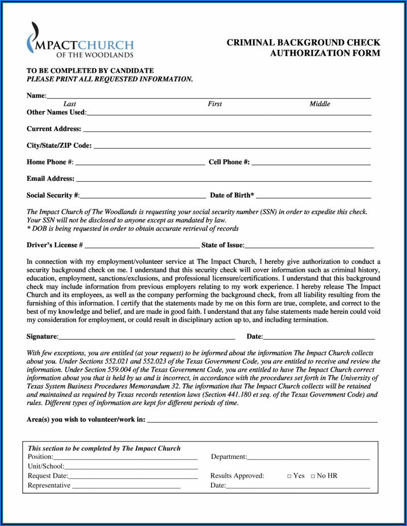 Pre Employment (criminal) Background Check Authorization Form