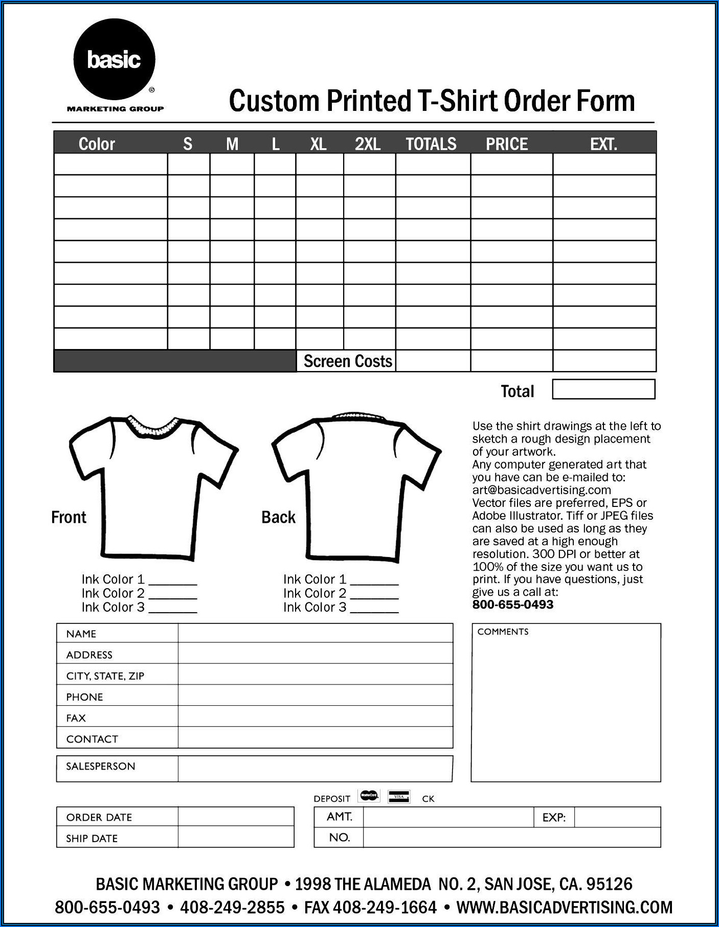 Printable Editable T Shirt Order Form Template