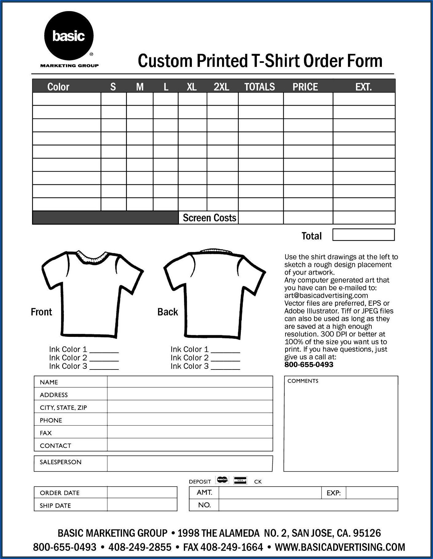 Printable Editable T Shirt Order Form Template