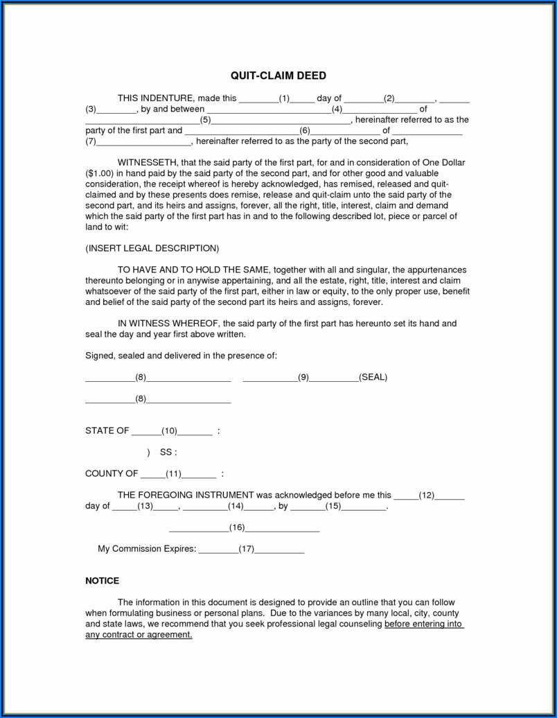 Quitclaim Deed Template Texas