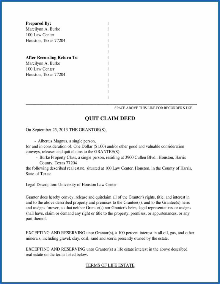 Quitclaim Deed Texas Sample